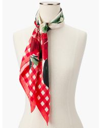 Talbots | Pink Gingham & Floral Silk Scarf | Lyst
