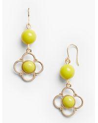 Talbots   Metallic Bead & Cabochon Flower Drop Earrings   Lyst