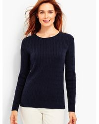 Talbots - Blue Combed Cotton Cable-knit Sweater - Lyst