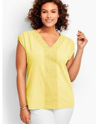 Talbots - Yellow Womans Lace-trimmed V-neck Cap Sleeve Tee - Lyst