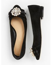 Talbots - Black Edison Bow-detail Flats - Embellished - Lyst