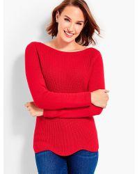 Talbots - Red Scallop-hem Bateau Sweater - Lyst