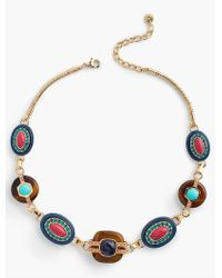 Talbots - Blue Mixed Materials Necklace - Lyst