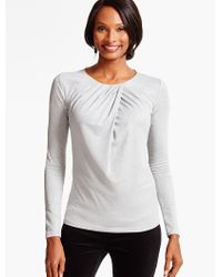 Talbots - Gray Ruched-twist Crepe Top - Lyst