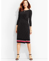 Talbots - Black Bella Side-drape Dress-dots & Stripes - Lyst