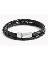 Tateossian | Black Double Wrap Scoubidou Leather Bracelet for Men | Lyst