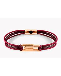 Tateossian | Silver Friendship Paperclip Bracelet In Red & Brown - 2 Micron Rose Gold Plated | Lyst
