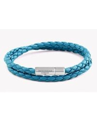 Tateossian | Blue Double Wrap Slim Pop Bracelet In Turquoise Leather With Silver Clasp for Men | Lyst