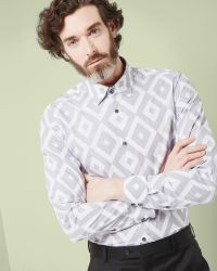 Ted Baker | Blue Debonair Diamond Print Shirt for Men | Lyst