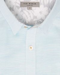 Ted Baker | Green Striped Cotton Shirt for Men | Lyst