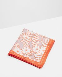 Ted Baker | Orange Large Floral Print Pocket Square for Men | Lyst