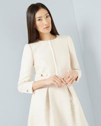 Ted Baker | Natural Metallic Bouclé Cropped Jacket | Lyst