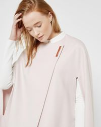 Ted Baker | Pink Minimalist Metal Clasp Cape | Lyst