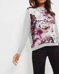Ted Baker   Gray Illuminated Bloom Woven Sweater   Lyst