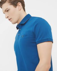 Ted Baker | Blue Clay Flat Knit Collar Polo Shirt for Men | Lyst