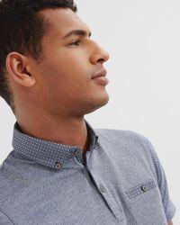 Ted Baker - Blue Woven Collar Cotton Polo Shirt for Men - Lyst