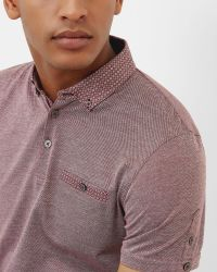 Ted Baker | Red Woven Collar Cotton Polo Shirt for Men | Lyst