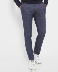 Ted Baker | Blue Checked Linen And Cotton-blend Trousers for Men | Lyst