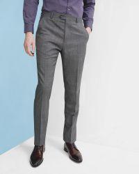 Ted Baker   Gray Debonair Checked Wool Trousers for Men   Lyst