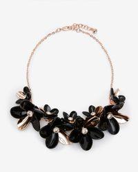 Ted Baker | Black Swarovski Crystal Statement Floral Necklace | Lyst