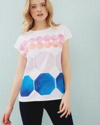 Ted Baker | White Marina Mosaic Woven T-shirt | Lyst