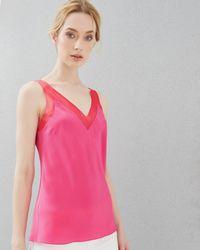 Ted Baker | Pink Silk Mesh Trim Cami Top | Lyst