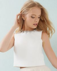 Ted Baker | White Embellished Cropped Top | Lyst