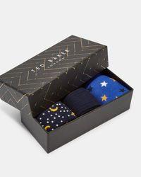 Ted Baker - Blue Cotton Sock Gift Set for Men - Lyst
