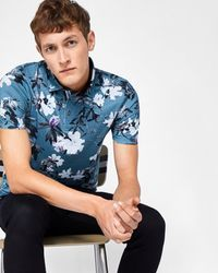 Ted Baker - Blue Floral Print Cotton Polo Shirt for Men - Lyst