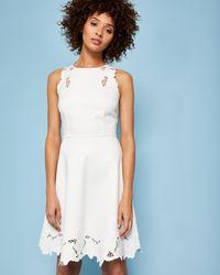 86161e87db Ted Baker Embroidered Skater Dress in White - Lyst