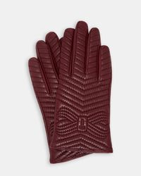 Ted Baker - Purple Quilted Bow Leather Gloves - Lyst