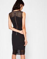 Ted Baker - Black Mesh Detail Bodycon Dress - Lyst
