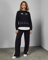 Ted Baker - Blue Frill Detail Cotton Sweater - Lyst