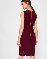 Ted Baker - Embroidered Bodycon Dress - Lyst