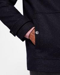 Ted Baker - Blue Baseball Collar Wool Coat for Men - Lyst