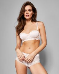 159274ac150686 Ted Baker Jacquard Lace Balcony Bra in Pink - Lyst