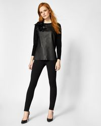 Ted Baker - Black Leather Front Flower Detail Jumper - Lyst