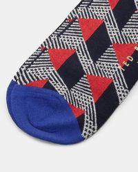Ted Baker - Red Geo Pattern Organic Cotton-blend Socks for Men - Lyst