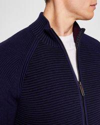 Ted Baker - Blue Textured Zip Through Jumper for Men - Lyst