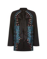 Temperley London | Black Juniper Satin-trimmed Embroidered Wool And Cashmere-blend Jacket | Lyst