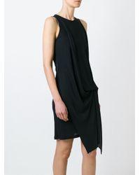 Dondup Black Gathering Detail Dress