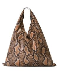 MM6 by Maison Martin Margiela | Brown Snakeskin Leather Tote Bag | Lyst