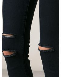 J Brand - Blue Ripped Skinny Jeans - Lyst