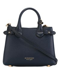 Burberry - Blue Small Banner Tote - Lyst