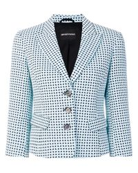 Emporio Armani - Blue Cotton Blend Jacket - Lyst