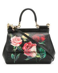 Dolce & Gabbana - Black Sicily Flower Leather Bag - Lyst