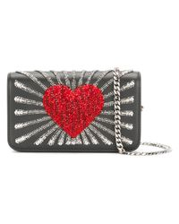 Les Petits Joueurs | Black Ginny Heart Leather Bag | Lyst