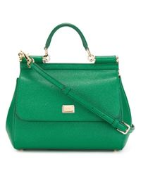 Lyst - Dolce   Gabbana Miss Sicily Leather Shoulder Bag in Green 8e09f4a26b