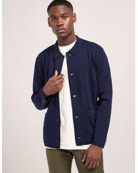 Rag & Bone - Blue Mens Light Knit Button Down Jacket Navy for Men - Lyst
