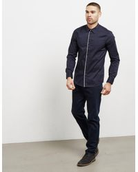 Emporio Armani - Mens Trim Placket Long Sleeve Shirt Navy Blue for Men - Lyst